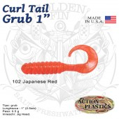 Action Plastics Curl Tail Grub 1""